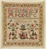Sampler in linen embroidered with...