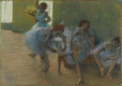 Dancers on a Bench Pastel...